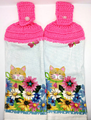 Kitty Cat & Flowers Hanging Kitchen Towel Set