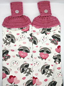 Cute Racoon Hearts Valentine's Day Hanging Kitchen Towel Set