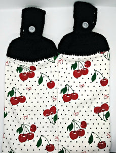 Cherry & Polka Dots Hanging Kitchen Towel Set