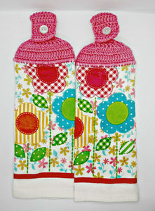 Cute Country Flower Hanging Kitchen Towel Set