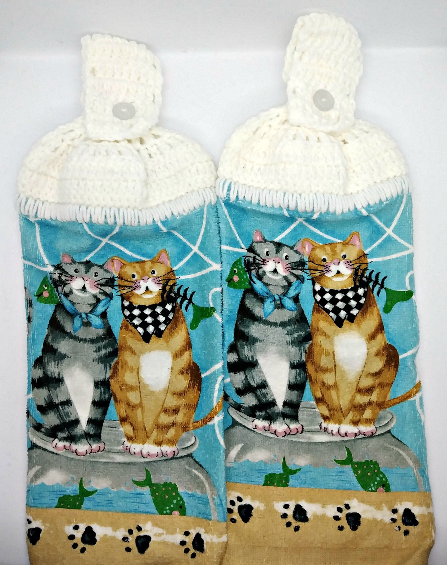 Kitty Cats with Fish Bones Hanging Kitchen Towel Set