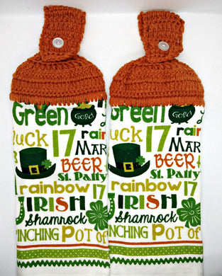 St. Patrick's Day Words Sayings Hanging Kitchen Towel Set