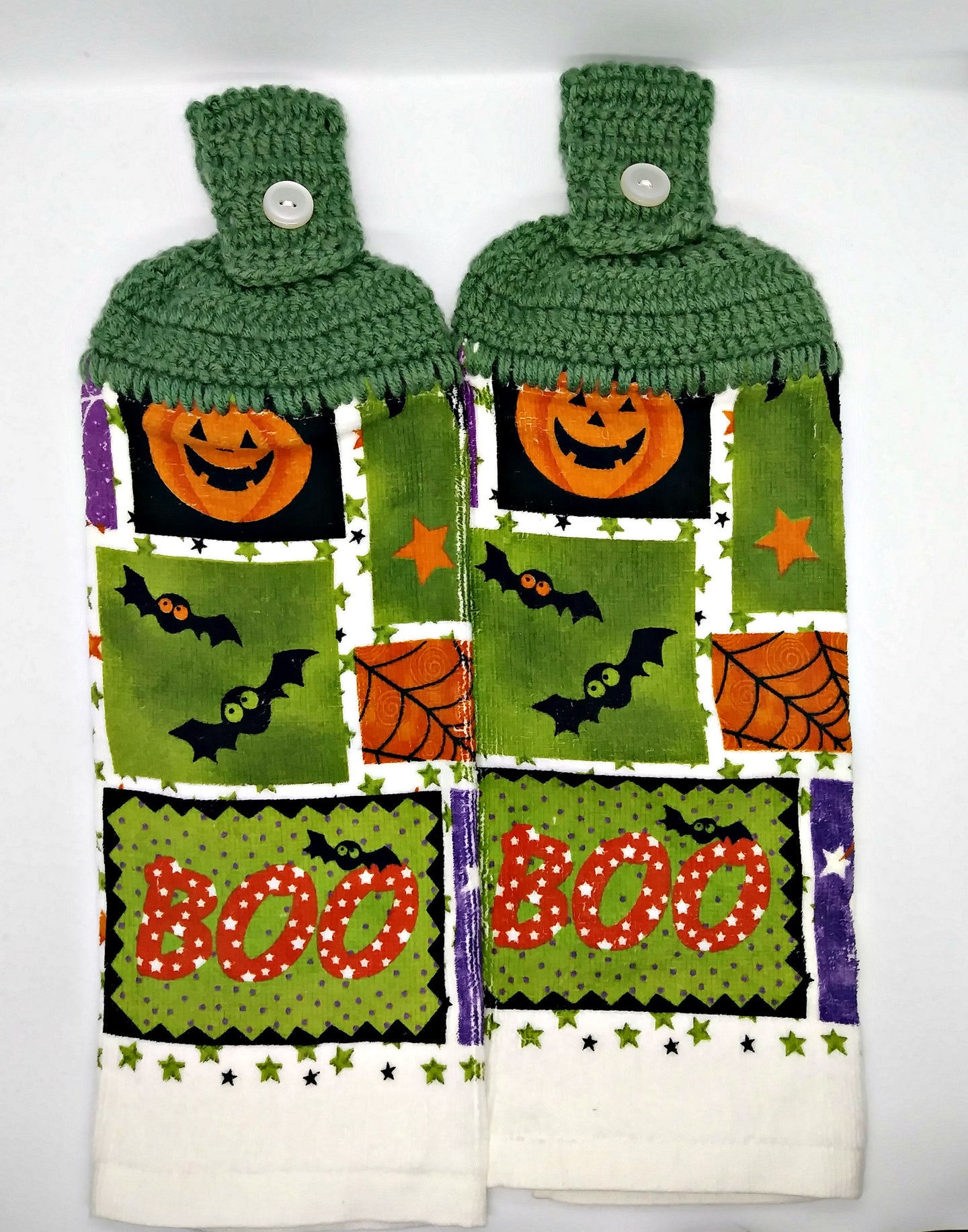 Boo Bats Pumpkins Spiders Halloween Hanging Kitchen Towel Set