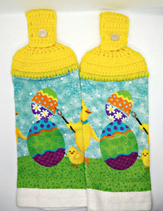 Easter Chick Painting Easter Eggs Hanging Kitchen Towel Set
