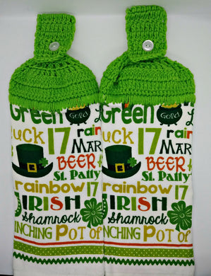 St. Patrick's Day Words Hanging Kitchen Towel Set