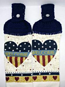 Welcome Heart Americana Flag Patriotic Hanging Kitchen Towel Set