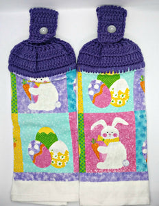 Easter Bunny & Eggs Hanging Kitchen Towel Set