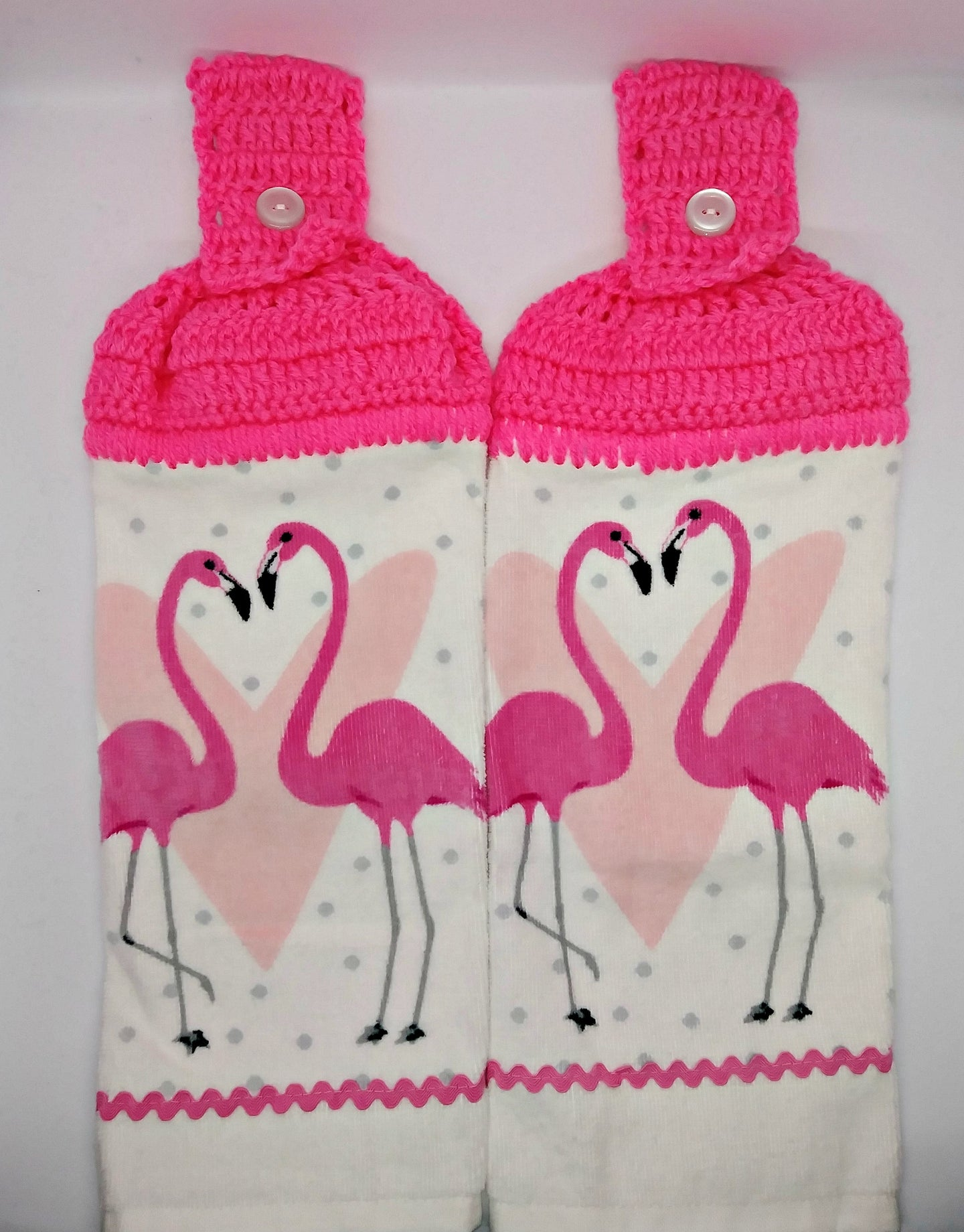 Valentine's Day Flamingos Hanging Kitchen Towel Set