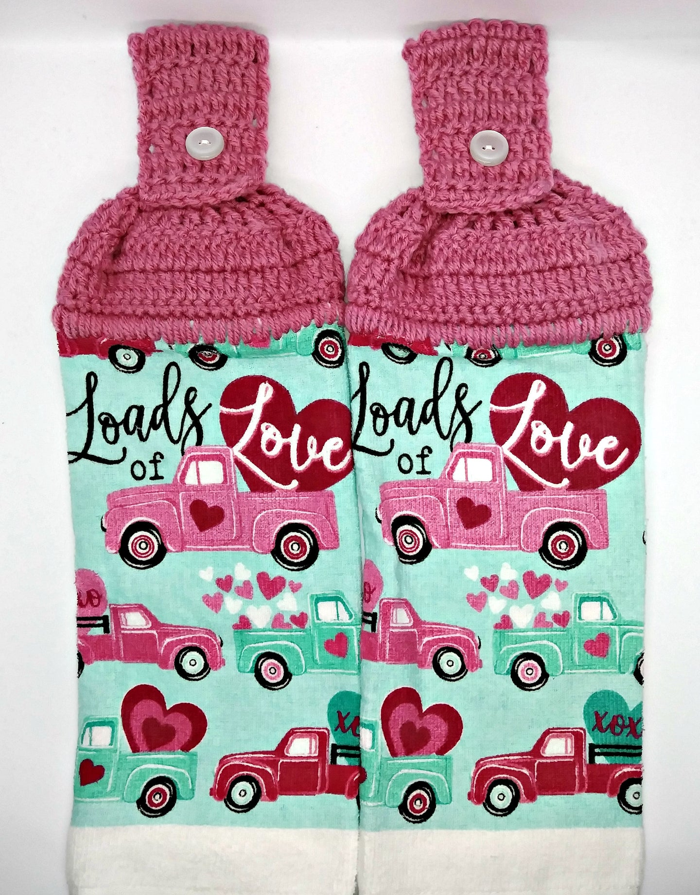 Loads Of Love Old Time Trucks Valentine's Day Hanging Kitchen Towel Set