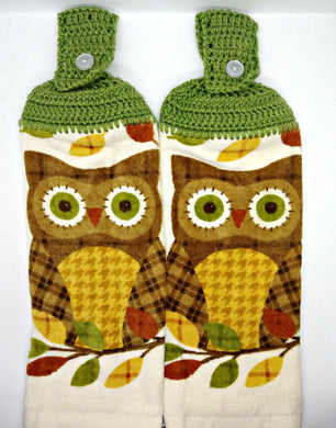 Fall Autumn Owl Hanging Kitchen Towel Set