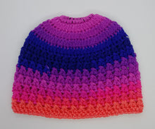 Load image into Gallery viewer, Teen Ladies Messy Bun Hat Flamenco Stripes Pinks & Purples
