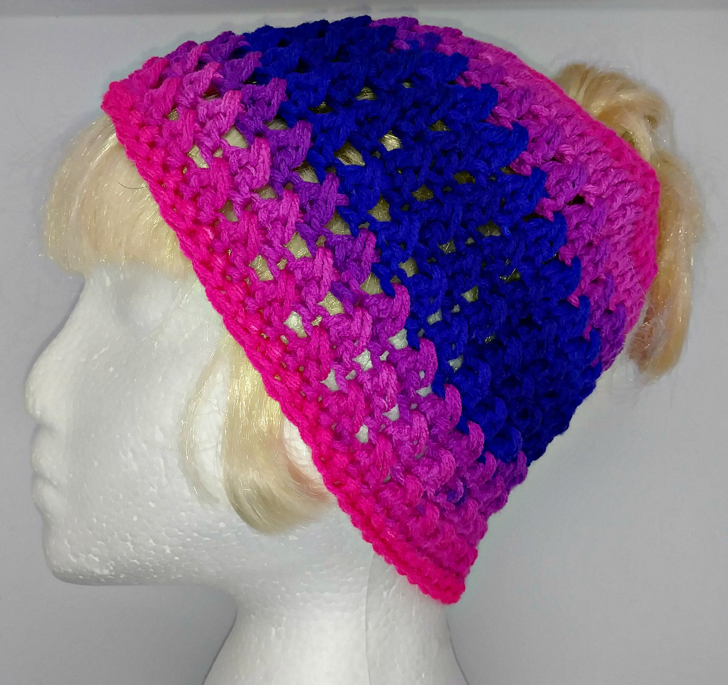 Teen Ladies Messy Bun Hat Flamenco Stripes Pinks & Purples