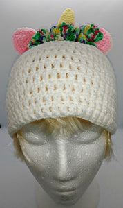 Teen Ladies Unicorn Horn with Roses Winter Hat