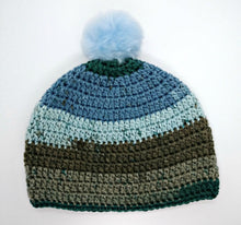 Load image into Gallery viewer, Unisex Winter Chunky Hat with Pompom Blues & Grays