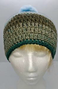Unisex Winter Chunky Hat with Pompom Blues & Grays