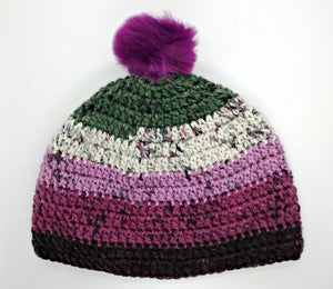 Teen Ladies Winter Chunky Hat with Pompom Grays, White & Plum Colors