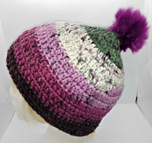 Load image into Gallery viewer, Teen Ladies Winter Chunky Hat with Pompom Grays, White & Plum Colors