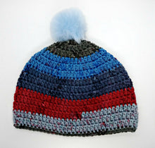 Load image into Gallery viewer, Unisex Winter Chunky Hat with Pompom Blues, Reds & Grays