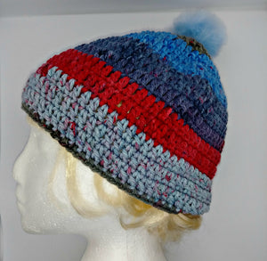 Unisex Winter Chunky Hat with Pompom Blues, Reds & Grays