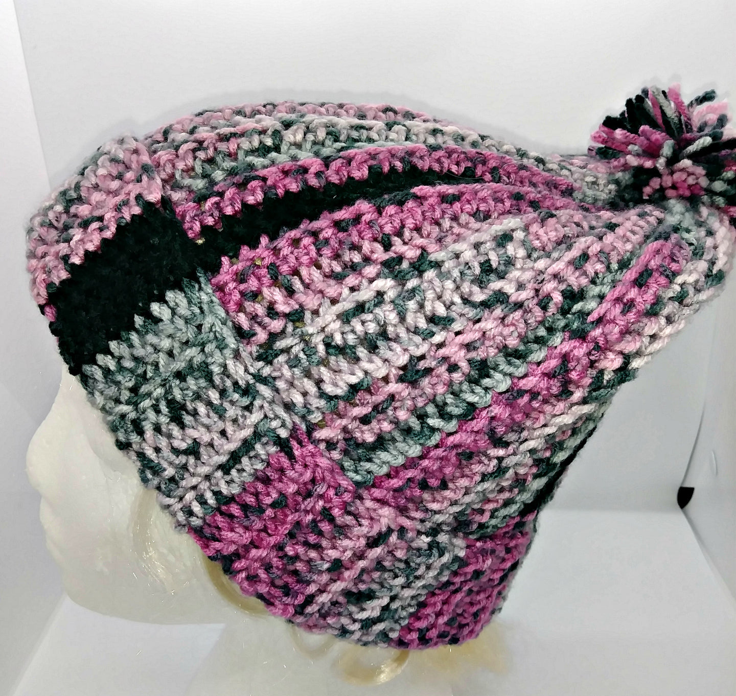 Pink & Black Pompom Basic Winter Hat Ladies Teen
