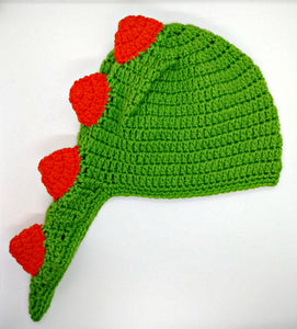 Child Size Green & Orange Dinosaur Winter Hat