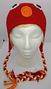 Red Monster Character Winter Braided Hat Teen Adult Size