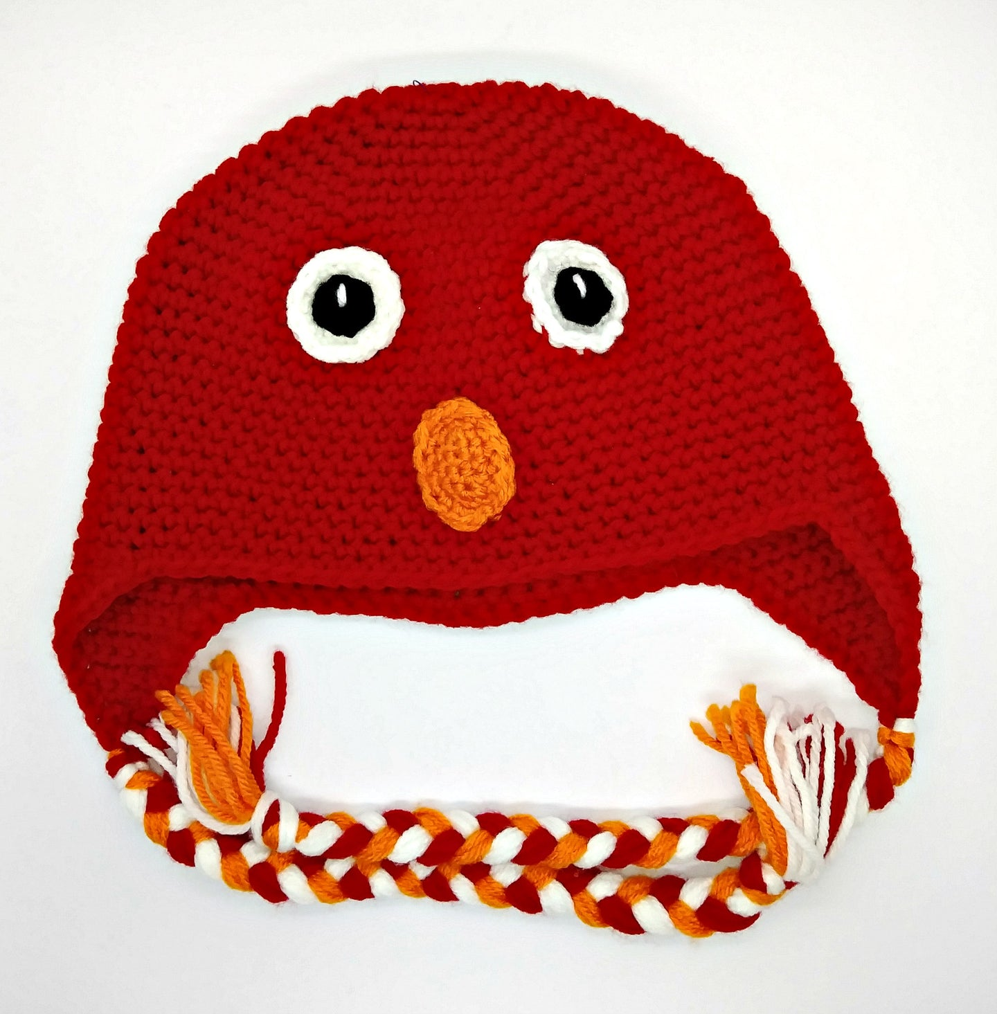 Red Monster Character Winter Braided Hat Child Teen Size