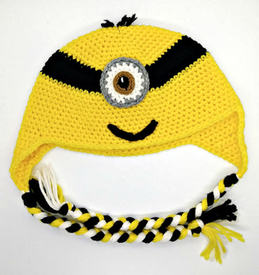 One Brown Eyed Yellow Monster Character Winter Braided Hat Teen Adult Size