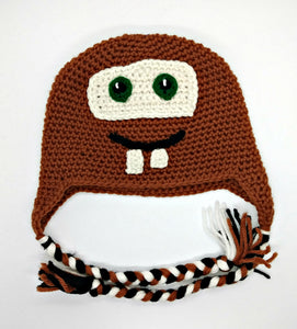 Ol' Rusty Truck Character Winter Braided Hat Baby Toddler Size
