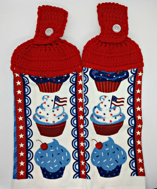 Red White & Blue Patriotic Cupcakes Hanging Kitchen Towel Set
