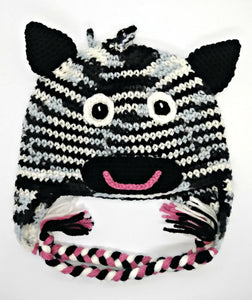 Zebra Character Winter Braided Hat Teen Adult Size