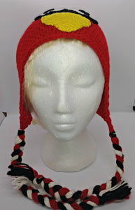 Cardinal Upset Bird Character Winter Braided Hat Child Teen Size