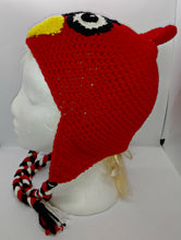 Load image into Gallery viewer, Cardinal Upset Bird Character Winter Braided Hat Teen Adult Size