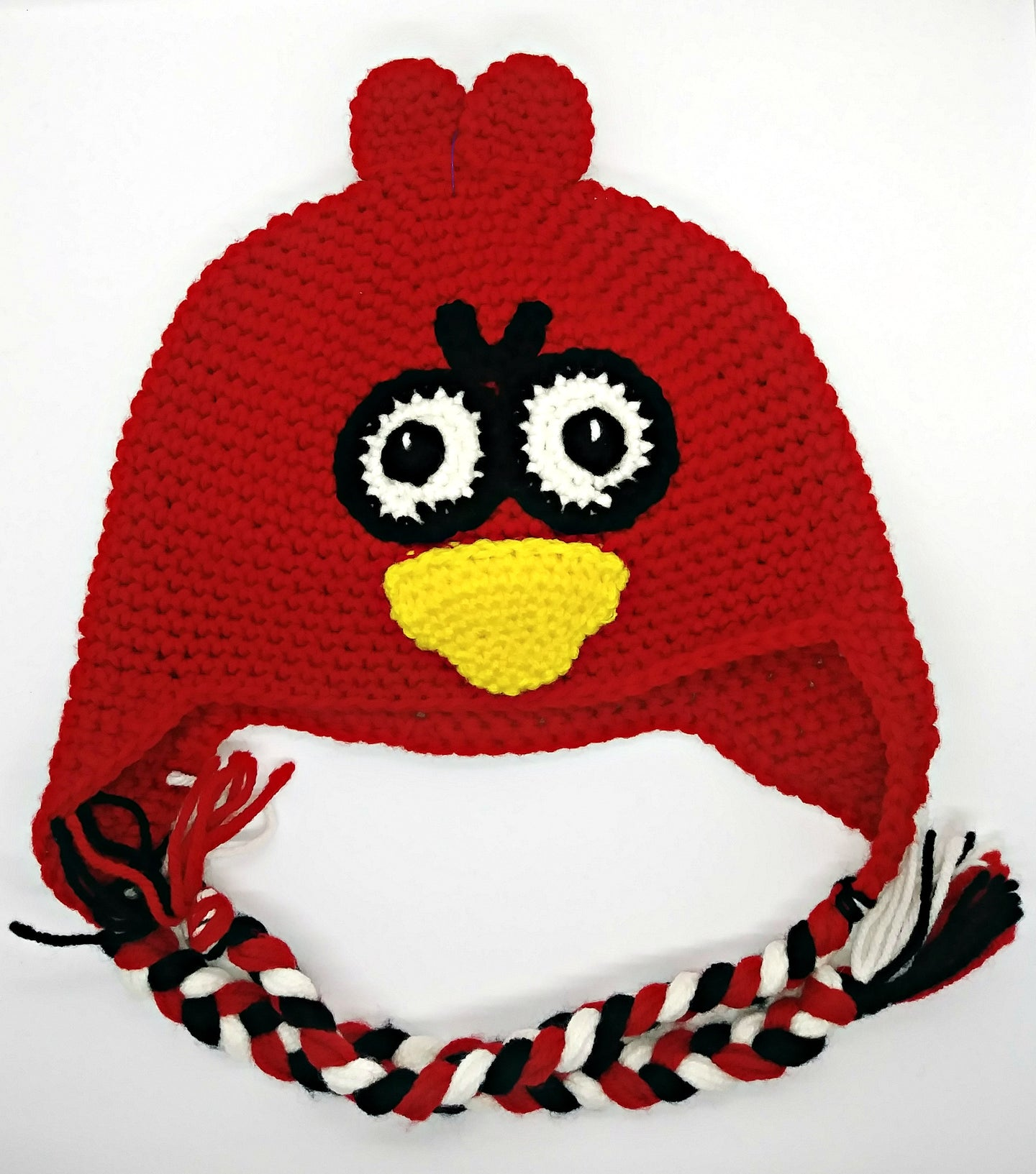 Cardinal Upset Bird Character Winter Braided Hat Teen Adult Size