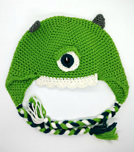 One Eyed Green Monster Character Winter Braided Hat Teen Adult Size