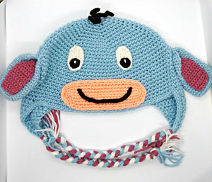 Depressed Donkey Character Winter Braided Hat Teen Adult Size