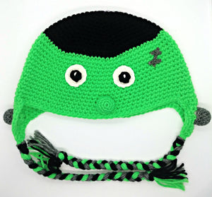 Halloween Frankie Character Winter Braided Hat Teen Adult Size