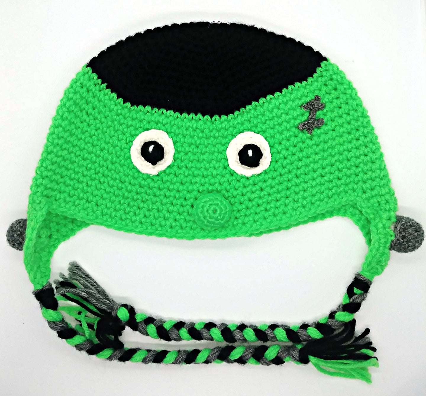 Halloween Frankie Character Winter Braided Hat Baby Toddler Size