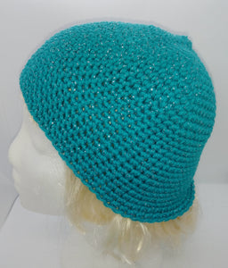 Teal Glitter Basic Winter Beanie Ladies Teen Hat