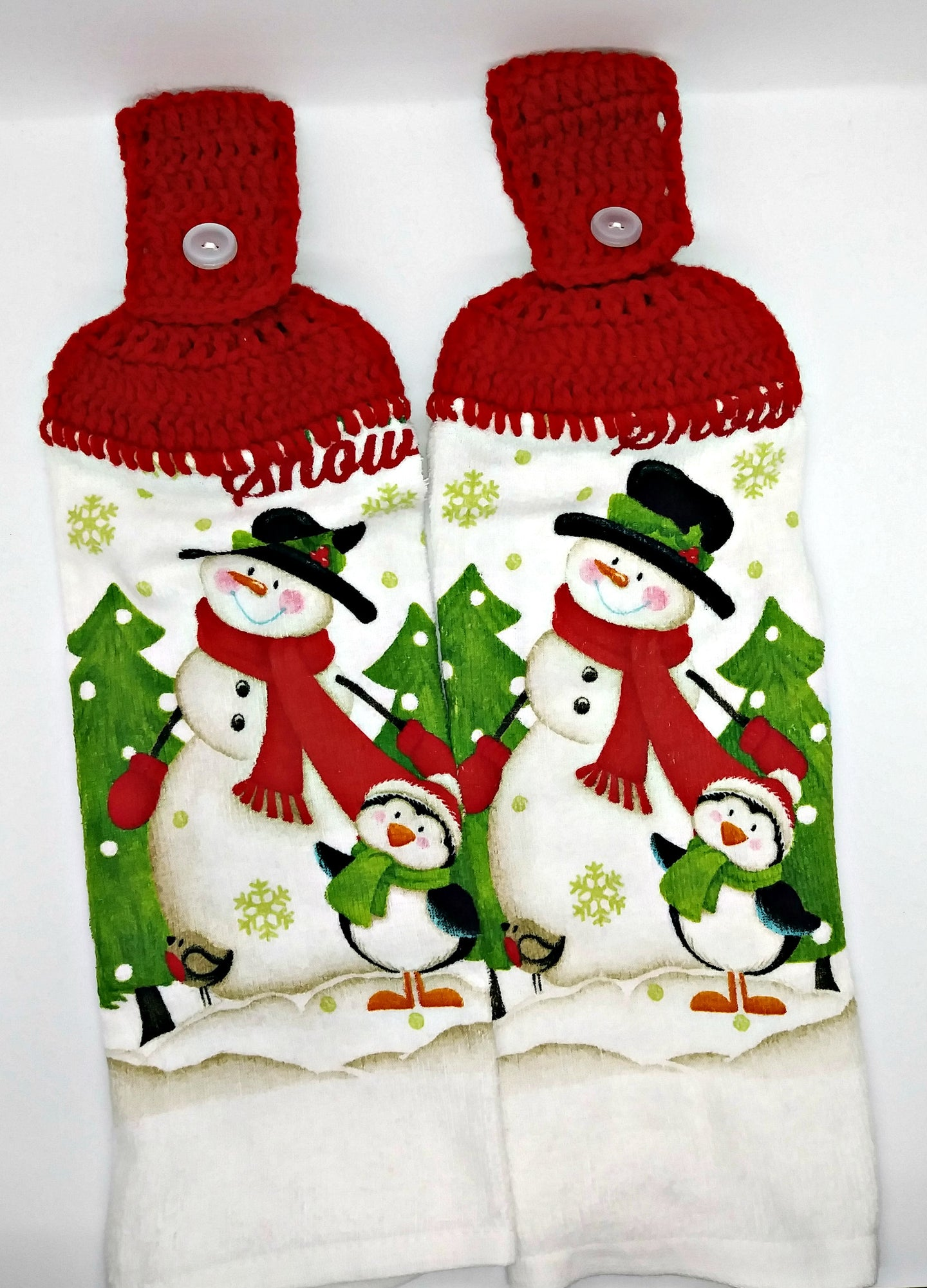 Winter Snowman & Penguin Hanging Kitchen Towel Set