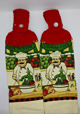 Vegetable Chef Hanging Kitchen Towel Set