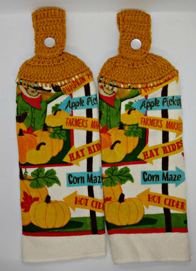 Microfiber Scarecrow & Pumpkin Fall Hanging Kitchen Towel Set
