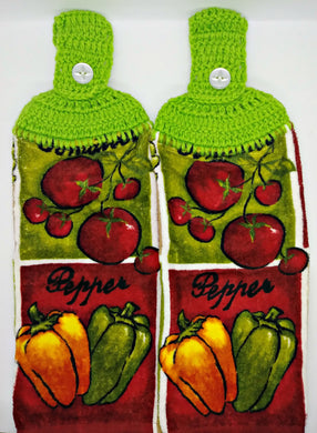 Tomatoes & Peppers Vegetables Hanging Kitchen Towel Set