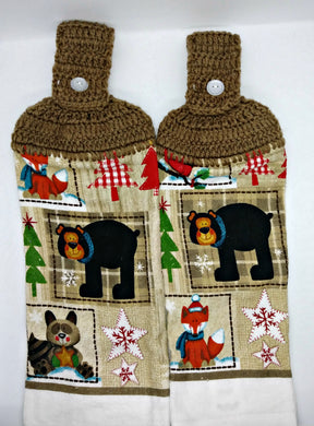 Bear Fox Cardinal Raccoon Hanging Kitchen Towel Set