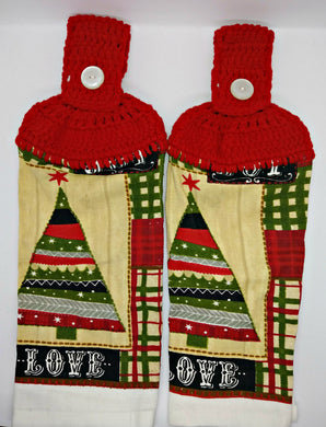 Primitive Christmas Tree Love Hanging Kitchen Towel Set