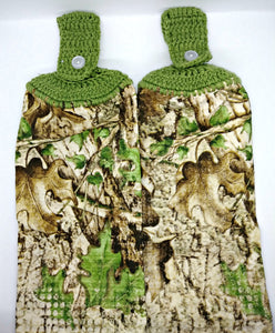 Camouflage Leaves Woven Hanging Kitchen Towel Set