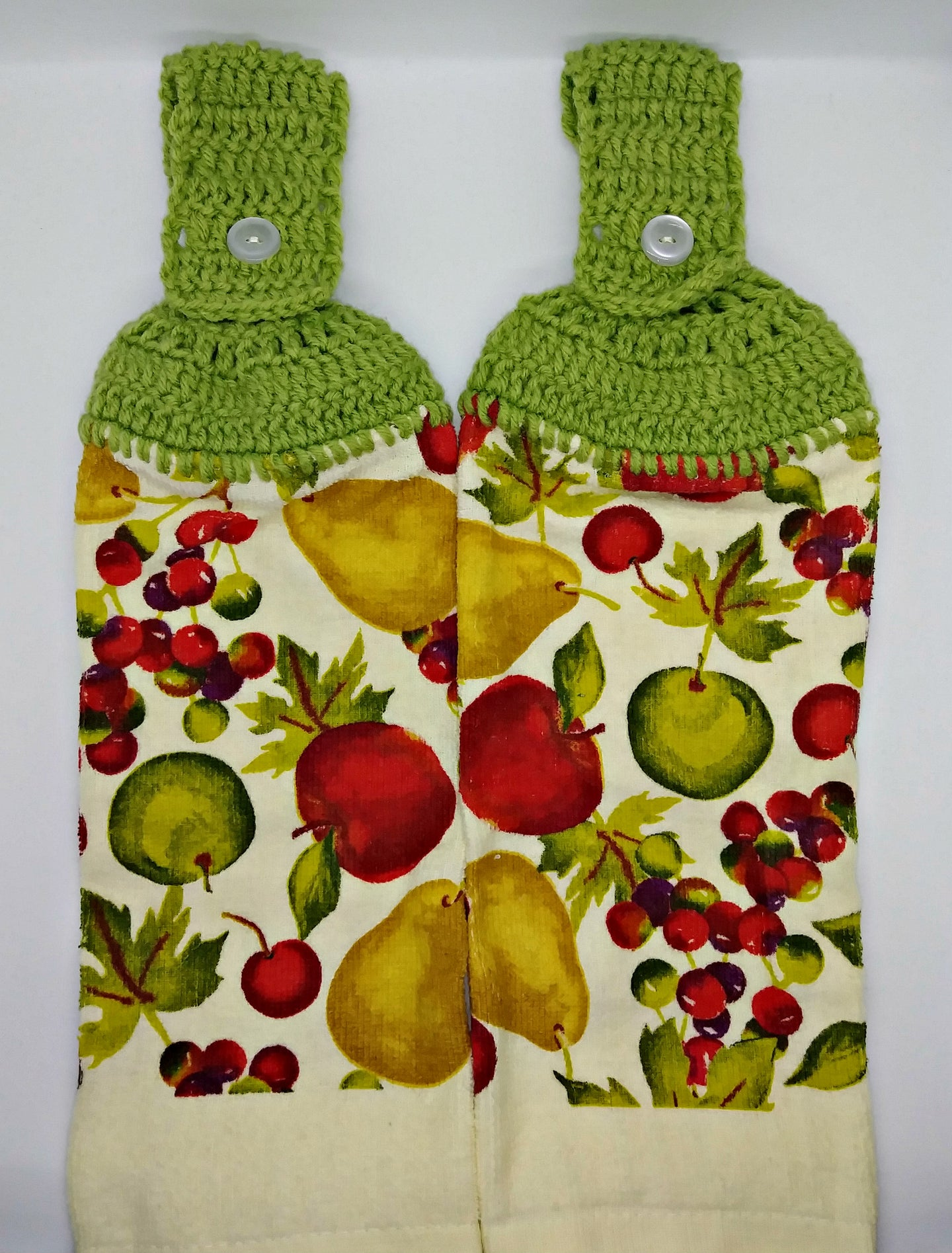 Apples Pears Grape Fruit  Hanging Kitchen Towel Set