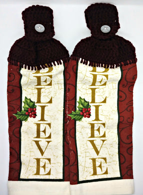 Christmas  Believe Hanging Kitchen Towel Set