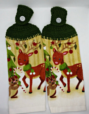 Christmas Reindeer Hanging Kitchen Towel Set