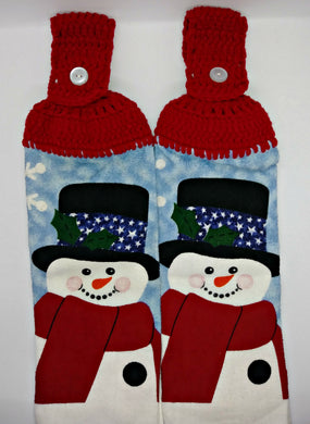 Adorable Winter Snowman Hanging Kitchen Towel Set